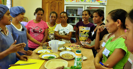Mothers attending a nutrition class