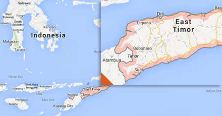 Timor Leste on a map